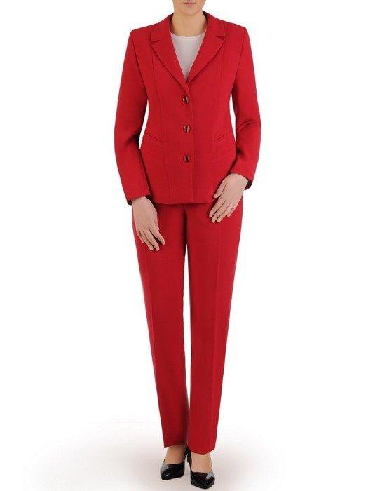 Garnitur damski, czerwony komplet spodnie z żakietem 24858