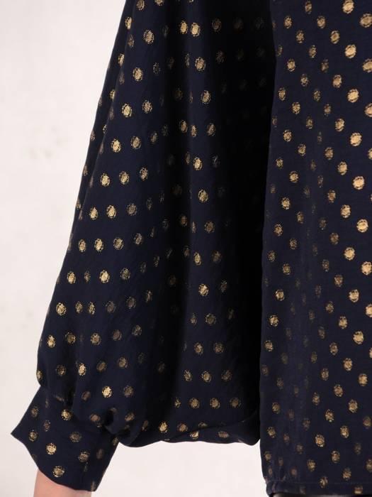 Granatowa bluzka z przedłużanym tyłem 28648