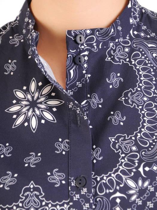 Granatowa sukienka koszulowa z ozdobną stójką 30751