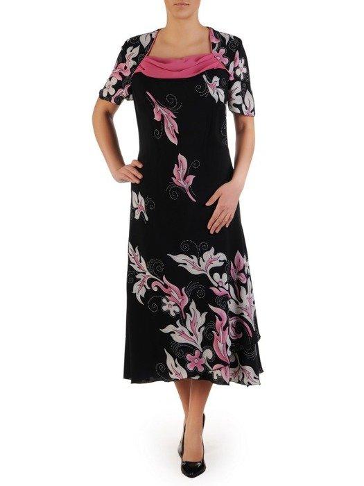 Granatowa sukienka z amarantowym żakietem, modna kreacja na wesele 25100