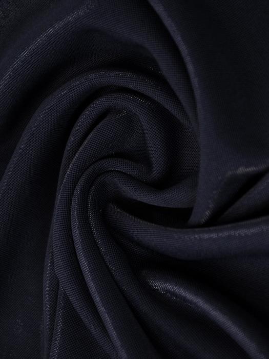 Granatowa sukienka z dzianiny, kreacja z kopertowym dekoltem 22411
