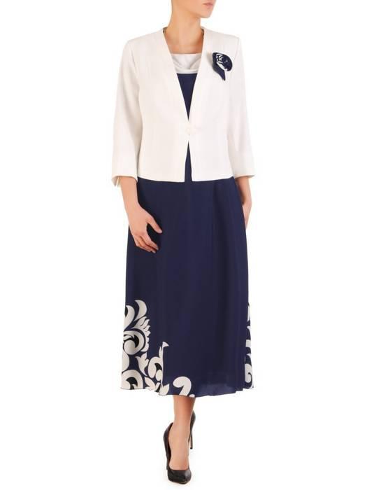 Granatowa sukienka z kontrastowym żakietem, modna kreacja na wiosnę 29867