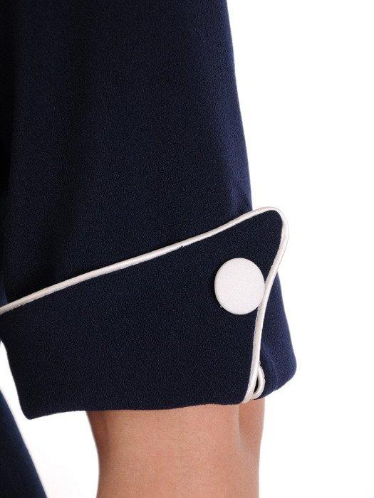 Granatowa sukienka z kontrastowymi wstawkami, modna kreacja wyszczuplająca 20149