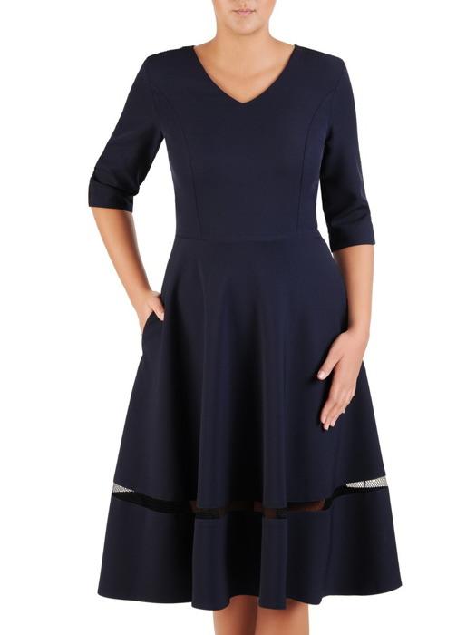 Granatowa sukienka z modną wstawką, rozkloszowana kreacja wizytowa 22019