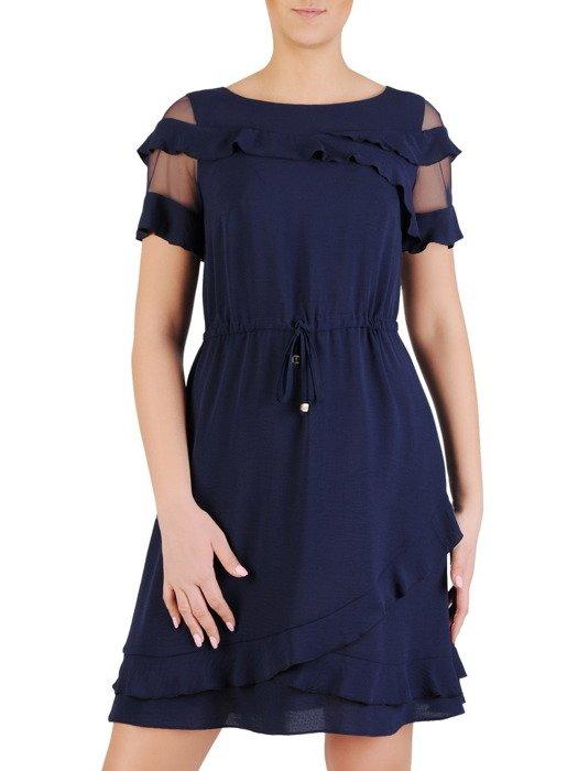 Granatowa sukienka z modnymi falbankami, zwiewna kreacja z ozdobnym dekoltem 19760