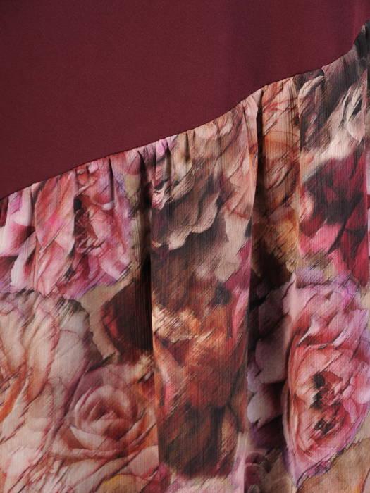 Jesienna sukienka z długim rękawem i szyfonową falbaną 31076