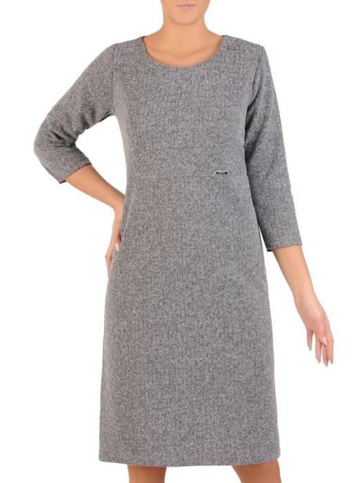 Klasyczna sukienka odcinana w pasie, dzianinowa kreacja 27715