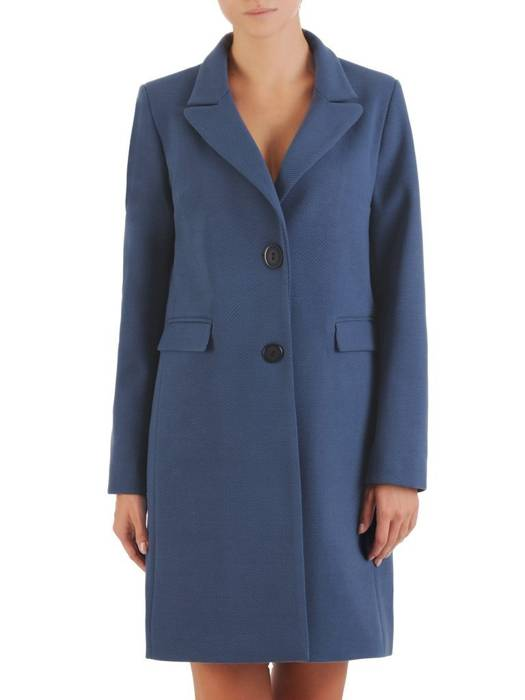 Klasyczny, flauszowy płaszcz damski w kolorze niebieskim 26905