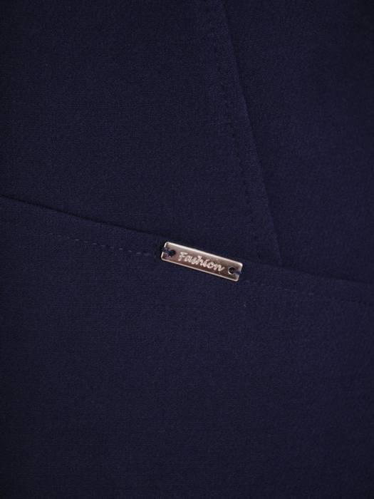 Klasyczny, granatowy płaszcz z kołnierzem 27141