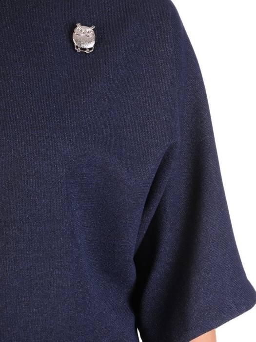 Komplet damski, granatowa spódnica z bluzką 29346