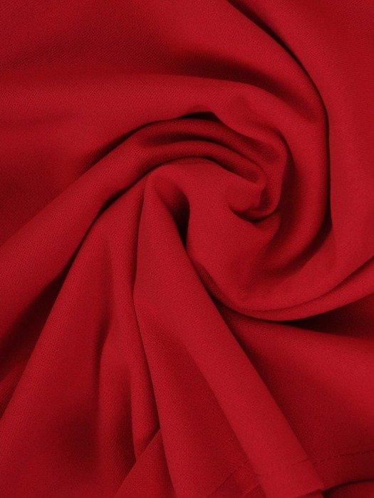 Kopertowa malinowa sukienka, modna kreacja z dzianiny 24855