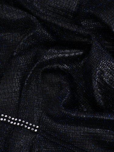 Kopertowa sukienka z marszczoną zakładką 14361, kreacja z błyszczącej tkaniny.