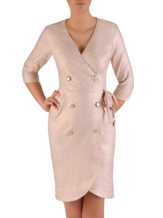 Kopertowa sukienka z modnym, dwurzędowym zapięciem 20035
