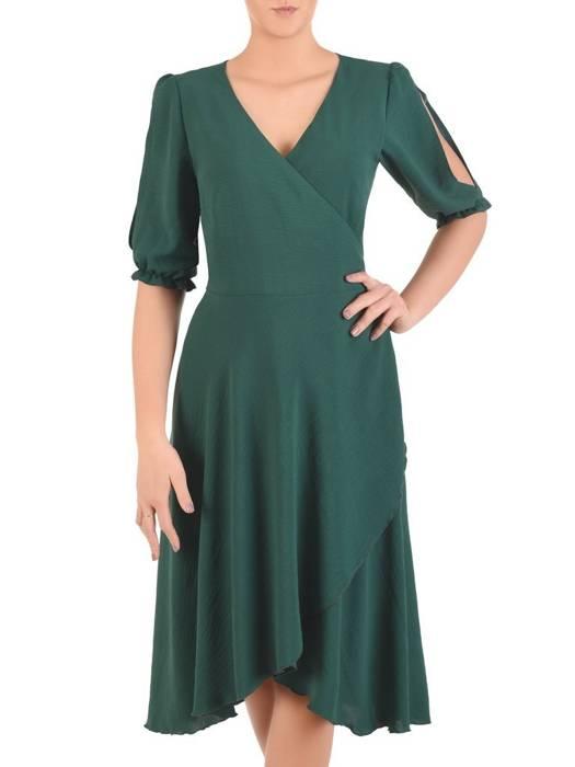 Kopertowa sukienka z ozdobnymi rozcięciami na rękawach 28981