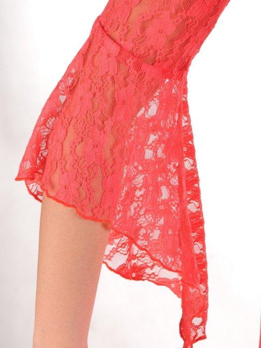 Koralowa kreacja wyjściowa, elegancka sukienka damska 20048.