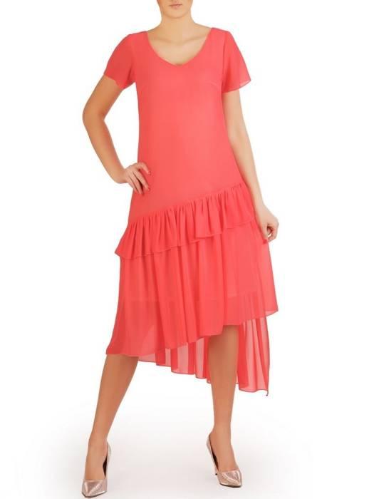 Koralowa sukienka w eleganckim fasonie maskującym niedoskonałości 29248