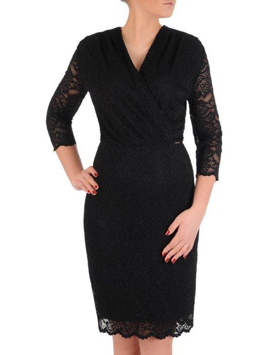 Koronkowa sukienka kopertowa, czarna kreacja na wieczór 19391