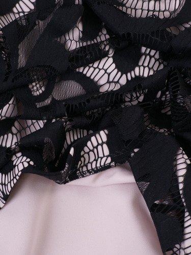 Koronkowa sukienka w piękne wzory 14469, elegancka kreacja dwuwarstwowa.