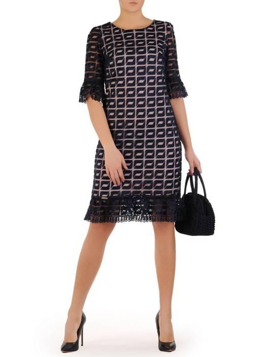 Koronkowa sukienka z ozdobnymi falbankami 28415