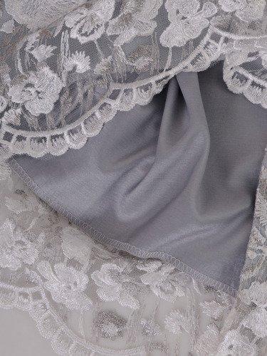Koronkowa sukienka z szyfonowym szalem 14902, pastelowa kreacja na wesele.