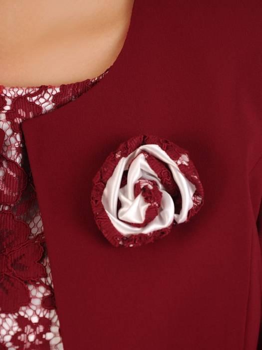 Kostium damski, bordowa sukienka z żakietem 27763