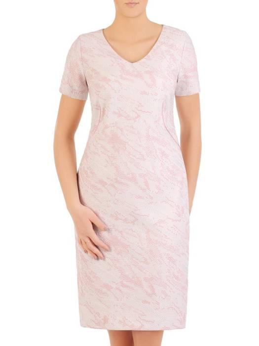 Kostium damski, wytłaczana sukienka z białym żakietem 29317