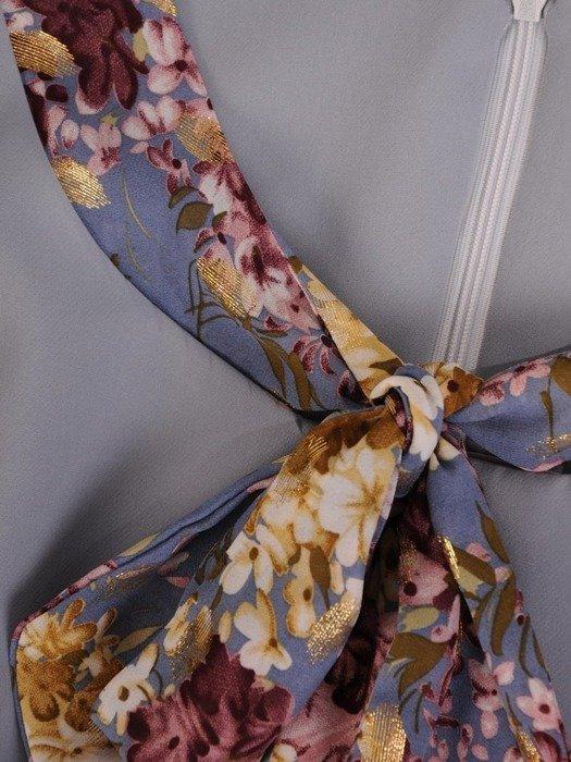 Kostium na wesele, popielata sukienka z modnym żakietem 26118