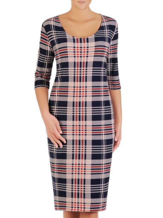 Kraciasta sukienka z bocznymi kieszeniami, atrakcyjna kreacja na jesień 22890