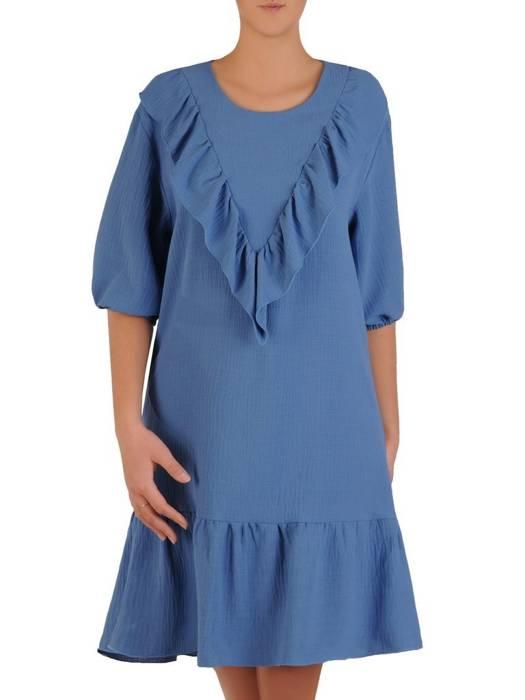 Kreszowana niebieska sukienka, kreacja z falbankami 28258