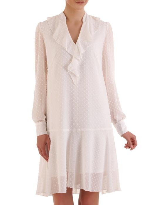 Lekka sukienka z ozdobnego szyfonu, stylowa kreacja z żabotem 21082