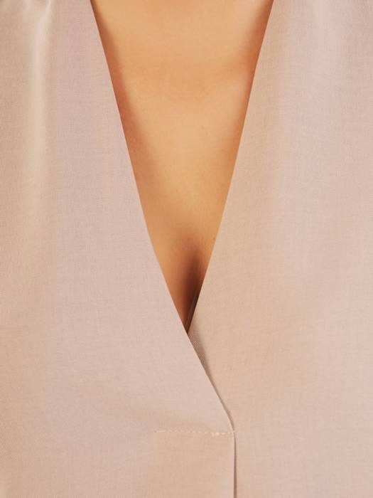 Lniana sukienka maxi, luźna kreacja z ozdobną zakładką 30375