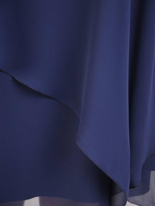 Luźna, granatowa sukienka ze zwiewnego szyfonu 30741