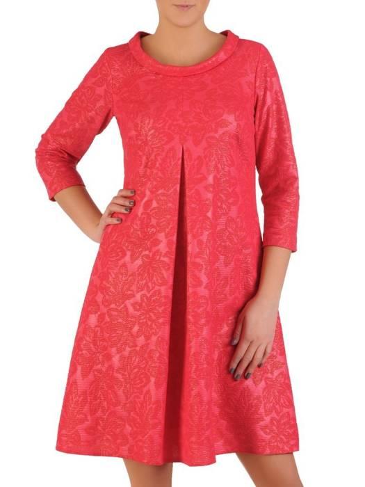Luźna sukienka z kontrafałdą, oryginalna kreacja z golfem 28564
