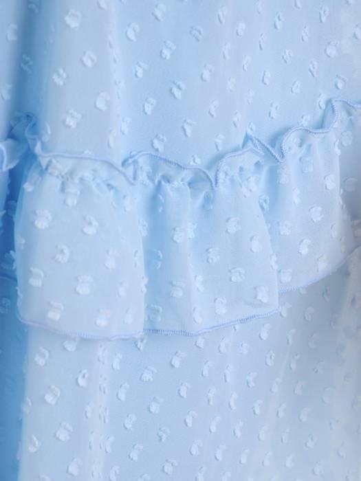 Luźna sukienka z modnymi falbankami, kreacja z szyfonu bubble 30243