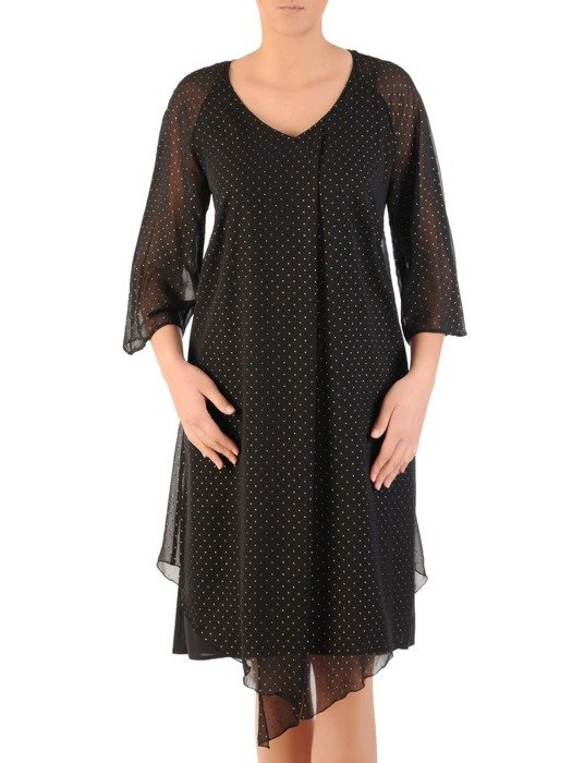 Luźna sukienka z szyfonu, czarna kreacja zdobiona dżetami 24313
