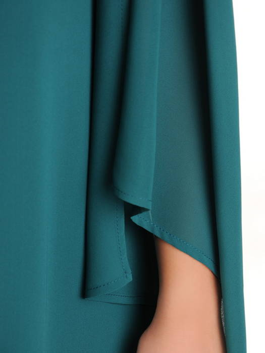 Luźna, szyfonowa sukienka z ozdobnie rozciętymi rękawami 30632