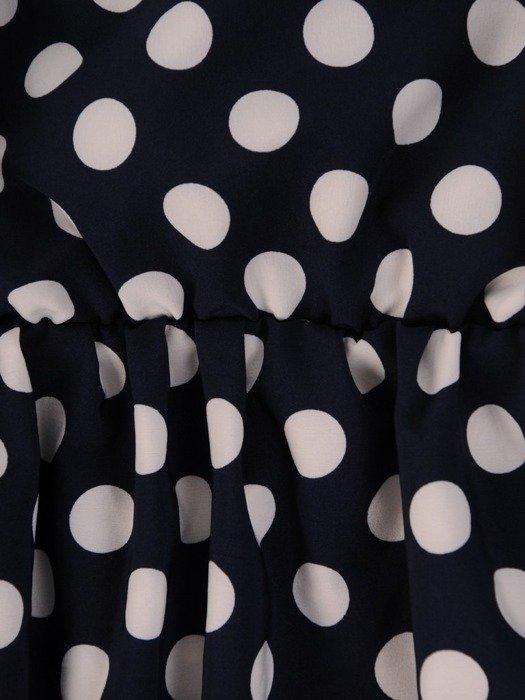 Maksi sukienka granatowa w groszki 25936