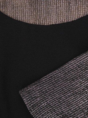 Mała czarna ze srebrnymi rękawami Milika I, nowoczesna kreacja wieczorowa.