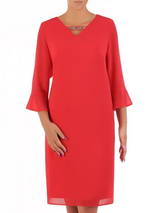 Malinowa sukienka z szyfonu, lekka kreacja z modnymi rękawami 21457