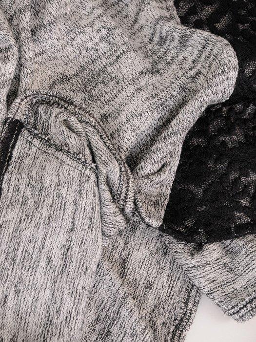 Melanżowa bluzka z koronkowym wykończeniem 18168.