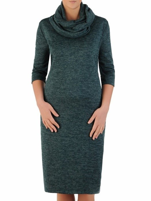 Melanżowa sukienka z modnym kominem, dzianinowa kreacja na zimę 24110