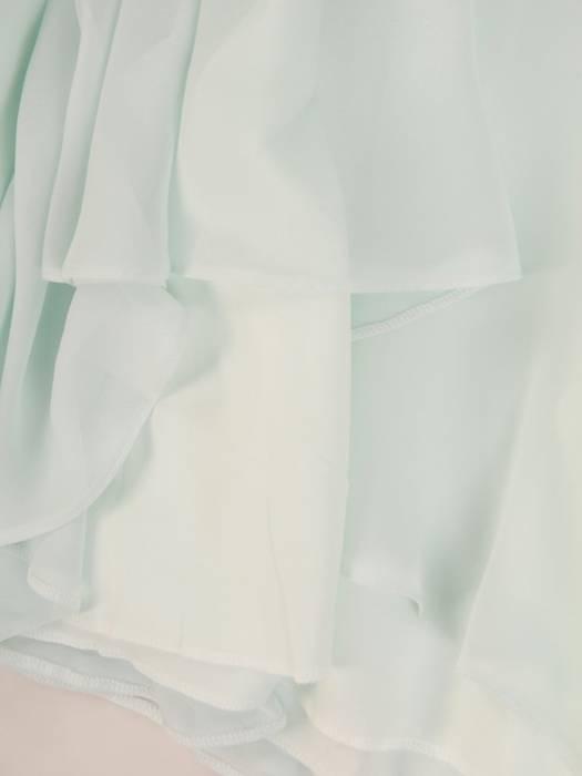Miętowa sukienka z paskiem, rozkloszowana kreacja z koronki i szyfonu 30338