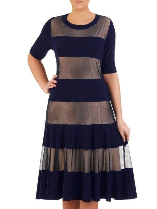 Modna, dwuwarstwowa sukienka w kontrastowe pasy 25142