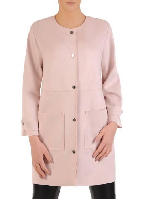 Modny płaszcz pudrowy z kieszeniami 28845