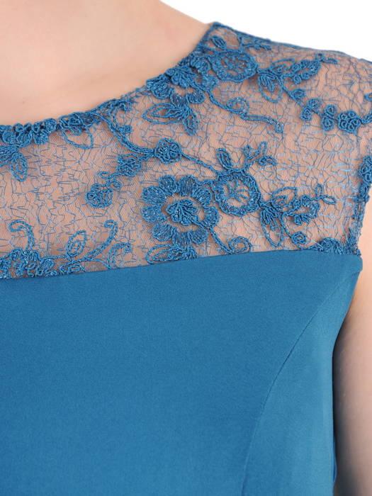 Morska sukienka z krótkim, koronkowym żakietem 15334.