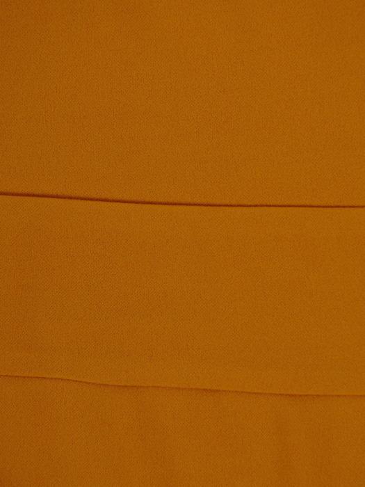 Musztardowa sukienka z dzianiny, kreacja z kopertowym dekoltem 22421