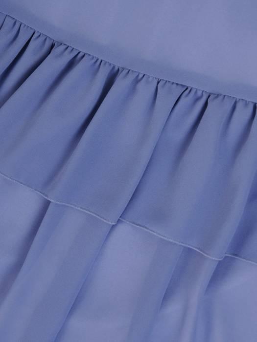 Niebieska sukienka w eleganckim fasonie maskującym niedoskonałości 29247