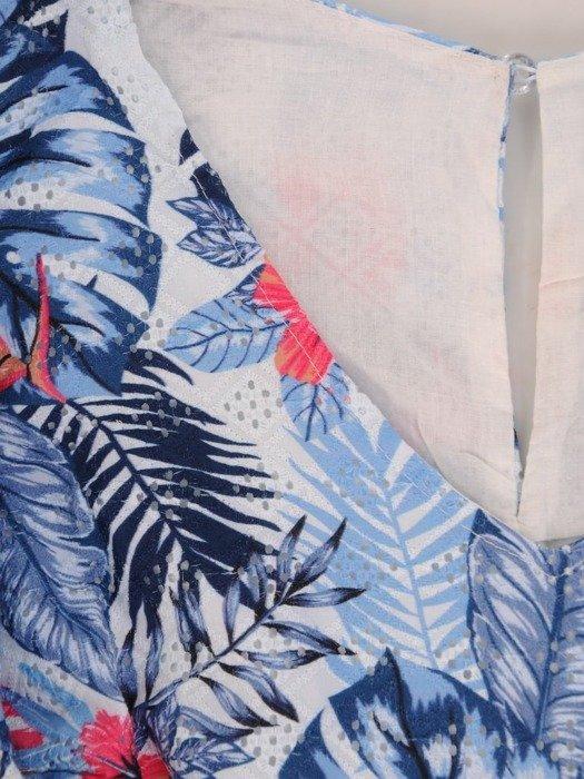 Niebieska sukienka z ozdobnymi falbanami 25935