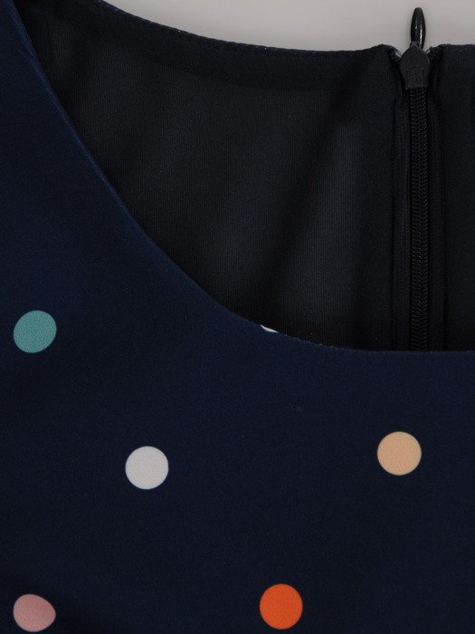 Nowoczesna sukienka w groszki, prosta kreacja na wiosnę 20124