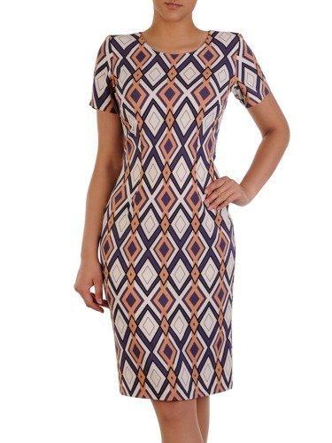 Nowoczesna sukienka w wyszczuplający, geometryczny wzór 16533.